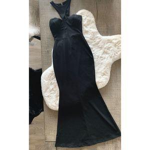 Windsor Bustier Halter Dress- black